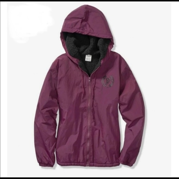 2376ca1acab9b NEW - VS PINK Sherpa Lined Campus Full-Zip Anorak NWT